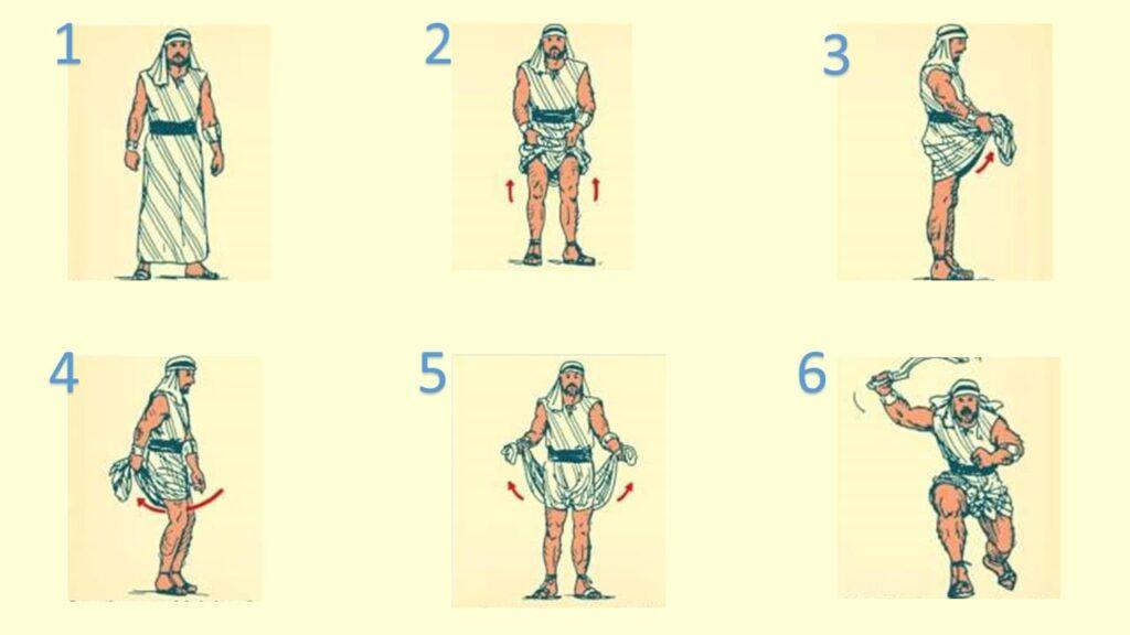 homem cingindo os lombos em 6 passos