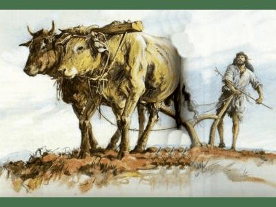 homem arando terra - agricultura ba bíblia